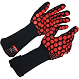 JH H01361 Heat Resistant Oven Gloves:EN407 Certified Withstand 932 °F, Double Layers Silicone Coating, BBQ Gloves & Oven…