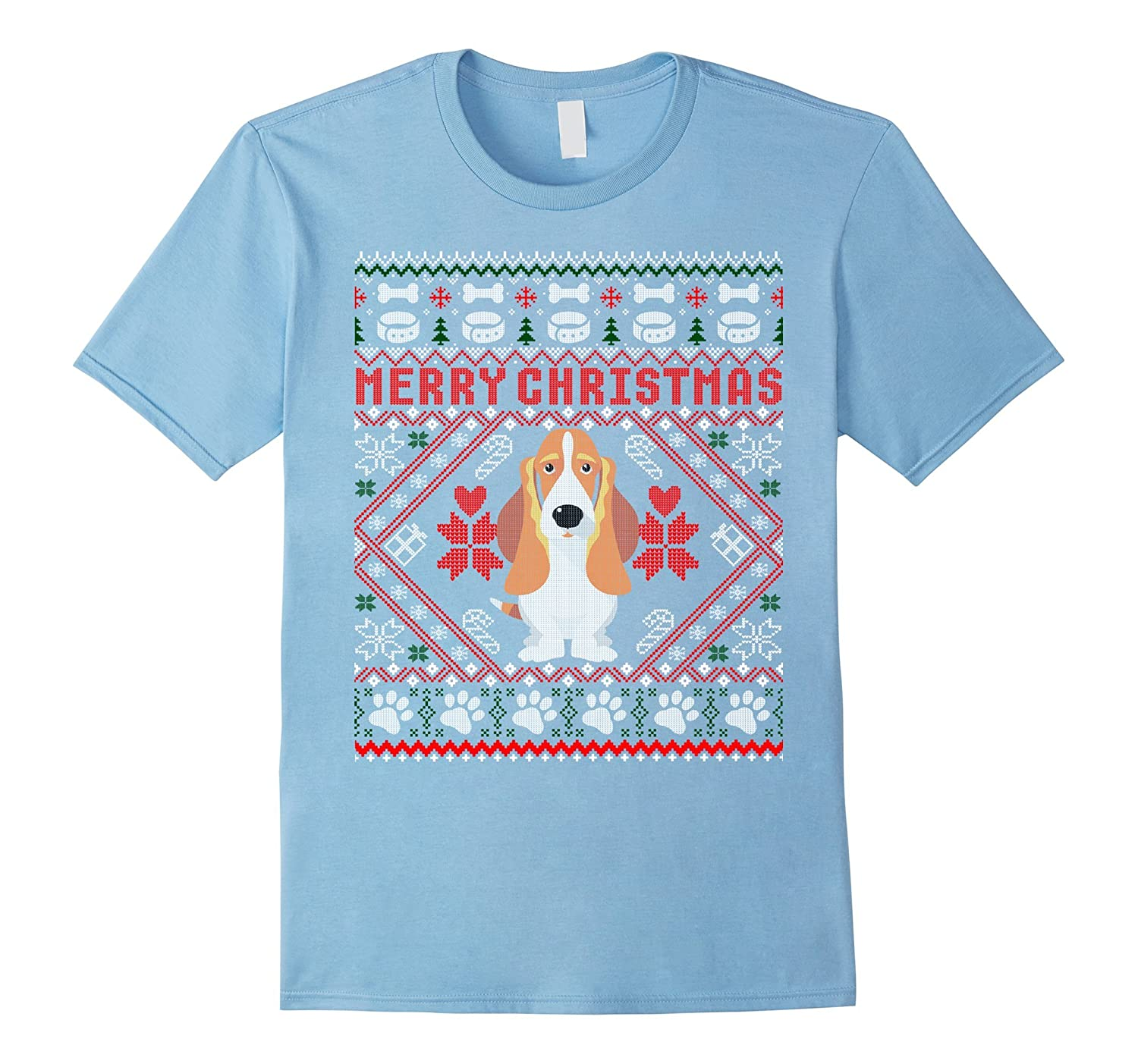 2dc1d44864 Basset Hound Dog Merry Christmas Ugly Xmas Sweater T-Shirt-ANZ ...