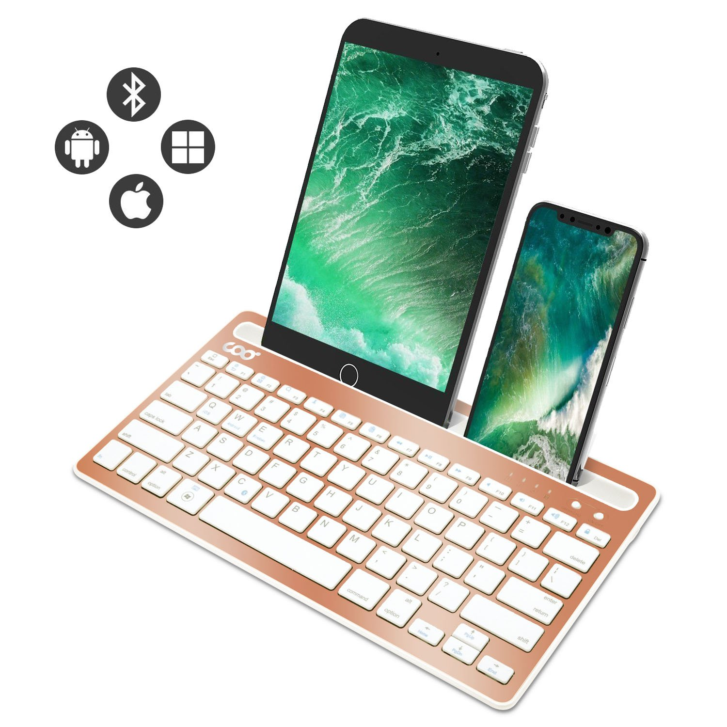 Bluetooth keyboard, Dual Channel Multi-device Universal Wireless Bluetooth Rechargeable Keyboard with Sturdy Stand for Tablet Smartphone PC Windows Android iOS Mac(Gold)