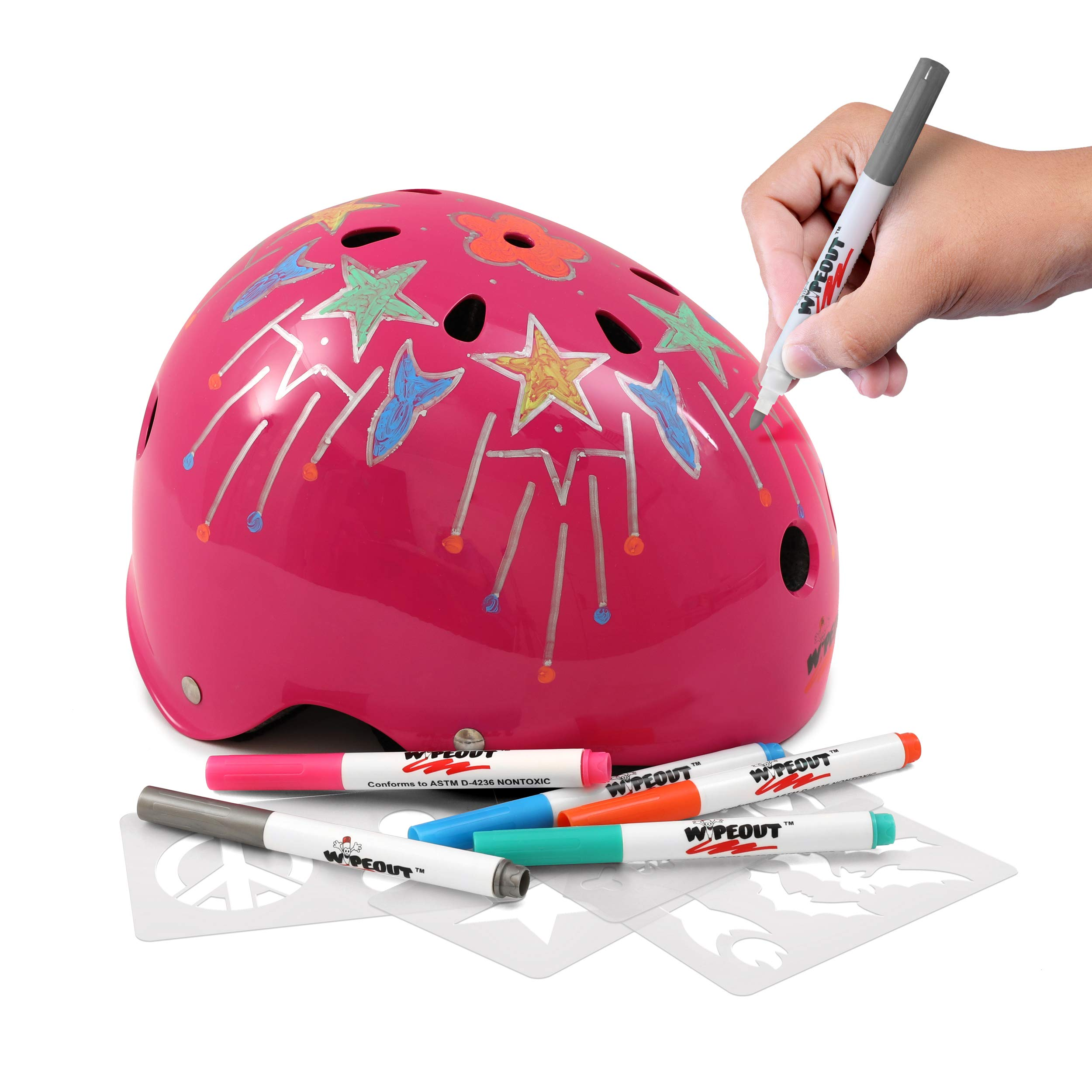 Wipeout Dry Erase Kids' Bike, Skate, and Scooter Helmet, Neon Pink, Ages 8+