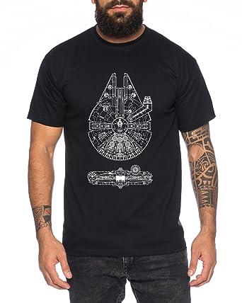 61d60828 Falcon Line Men's T-Shirt Millennium blaupause Blueprint falkon ...