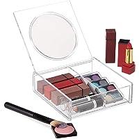 Relaxdays Organizador de Maquillaje, Tapa con Espejo, Dos