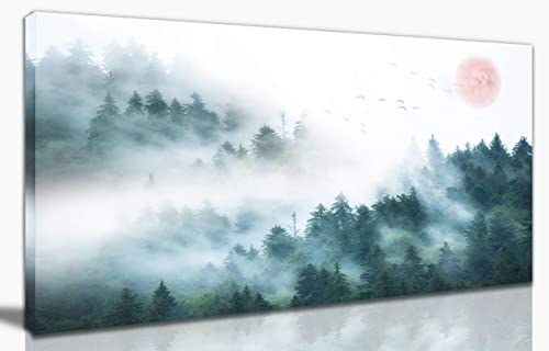 Large Canvas Wall Art Wall Decorations For Living Room Wall Decor For Bedroom Forest Wall Art Nature's Landscape Modern Wall Decor Foggy Forest Home Decor Framed Ready to Hang Size 24×48