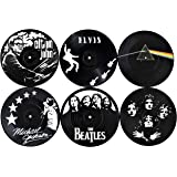 Our Casa Vinyl Record Coasters for Drinks | Home Decor Music Record Drink Coasters Set. Housewarming, Living Room…
