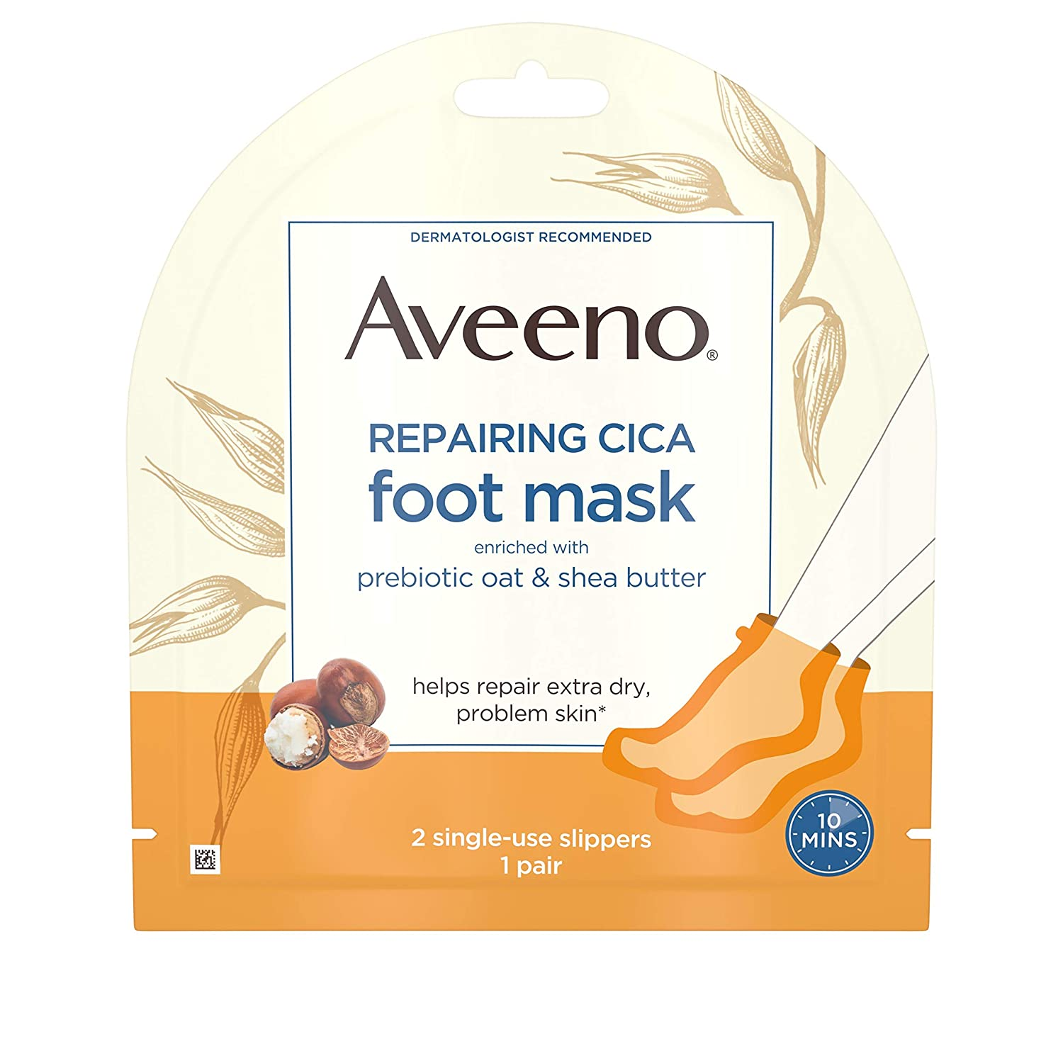 Aveeno Repairing CICA Foot Mask with Prebiotic Oat and Shea Butter, Moisturizing Foot Mask for Extra Dry Skin, 1 Pair of Single-Use Slippers (Pack of 36)
