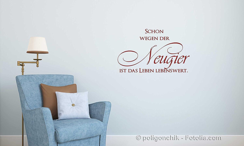 Wandtattoo Sprüche W677 Schon wegen der Neugier ist das Leben lebenswert -  Arbeitszimmer (46x28 cm) creme: Amazon.de: Küche & Haushalt