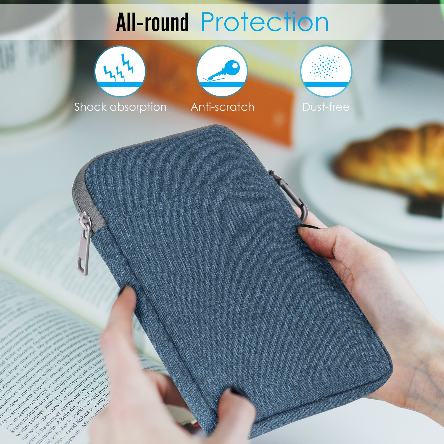 MoKo 6 Inch Kindle Sleeve Case Fits for All-New Kindle 10th Generation 2019//Kindle Paperwhite 2018 //Kindle Oasis 6 E-Reader Nylon Cover Pouch Bag for Kindle Voyage//Kindle 8th Gen, 2016 Dark Gray