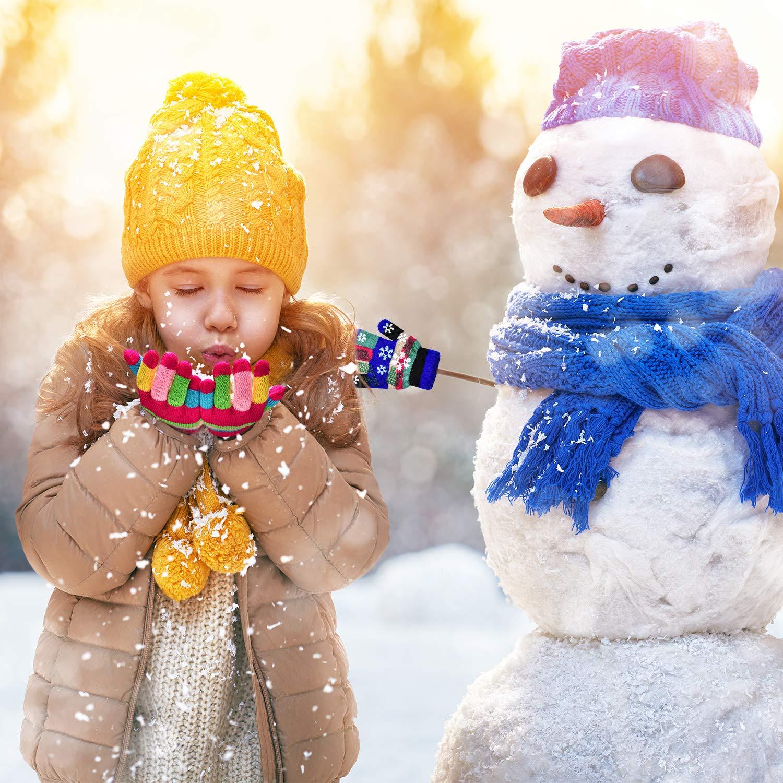 Mischfarben Syhood 12 Paar Unisex Kinder Handschuhe Stretch Vollfinger Handschuhe Strickhandschuhe Winter Warme Strickhandschuhe f/ür Jungen und M/ädchen