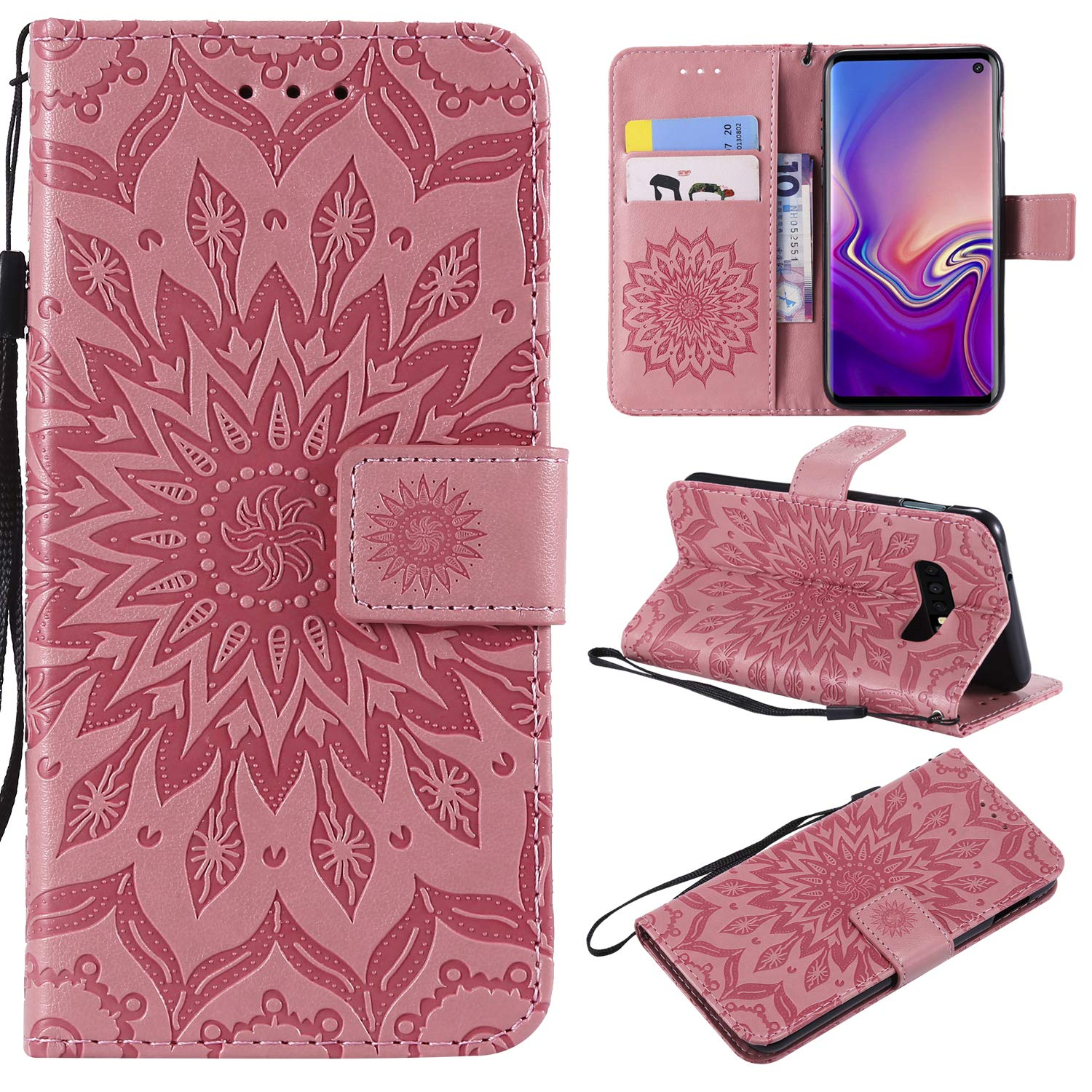 NOMO Galaxy S10 Case,Samsung S10 Wallet Case,Galaxy S10 Flip Case PU Leather Emboss Mandala Sun Flower Folio Magnetic Kickstand Cover with Card Slots for Samsung Galaxy S10 Gray