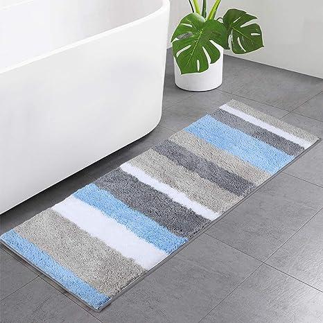 Amazon Com Buganda Microfiber Stripe Bathroom Rugs Runner Shaggy Soft Absorbent Machine Washable Non Slip Bath Mat And Bath Rugs For Bathroom Blue And Grey 17 X47 Home Kitchen