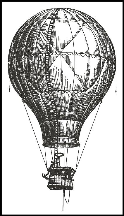 Amazoncom Pencil Sketch Black And White Hot Air Balloon Vinyl
