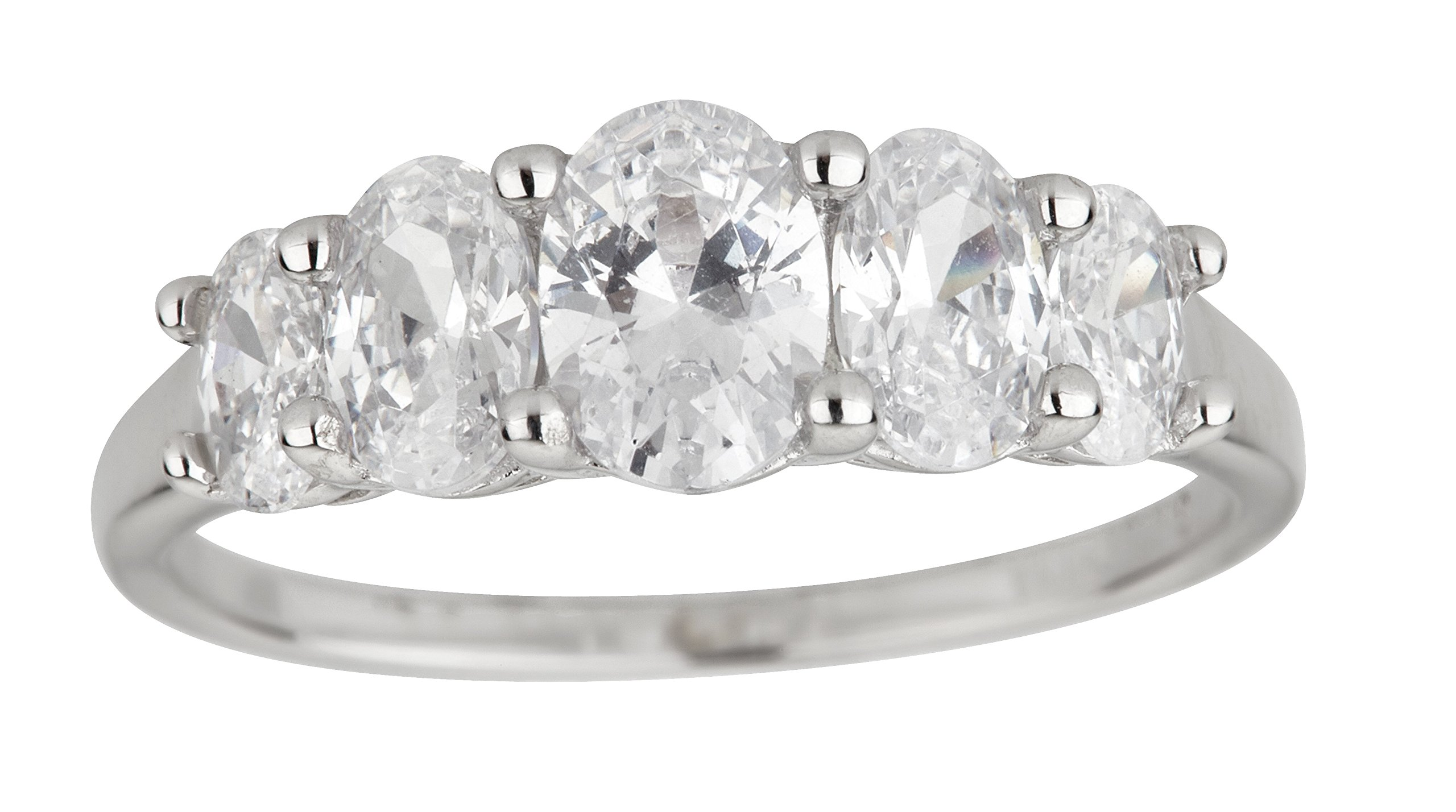 Sterling Silver Rhodium Oval 5 Stone Cubic Zirconia Graduated Anniversary Band Engagement Ring