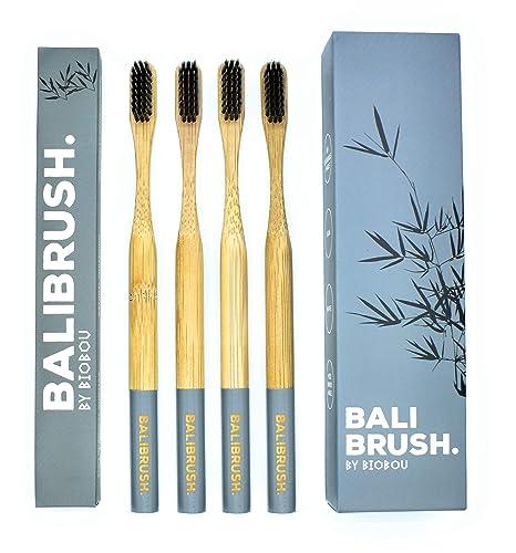 BALIBRUS - Cepillo de dientes de bambú con cerdas de carbón Biodegradable. Suave cerdas medianas