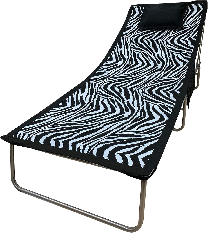NADA HOME Telo Mare Microfibra coprilettino Elastici Tasche e Cuscino Giorgio Camani 3083 Zebra Unica