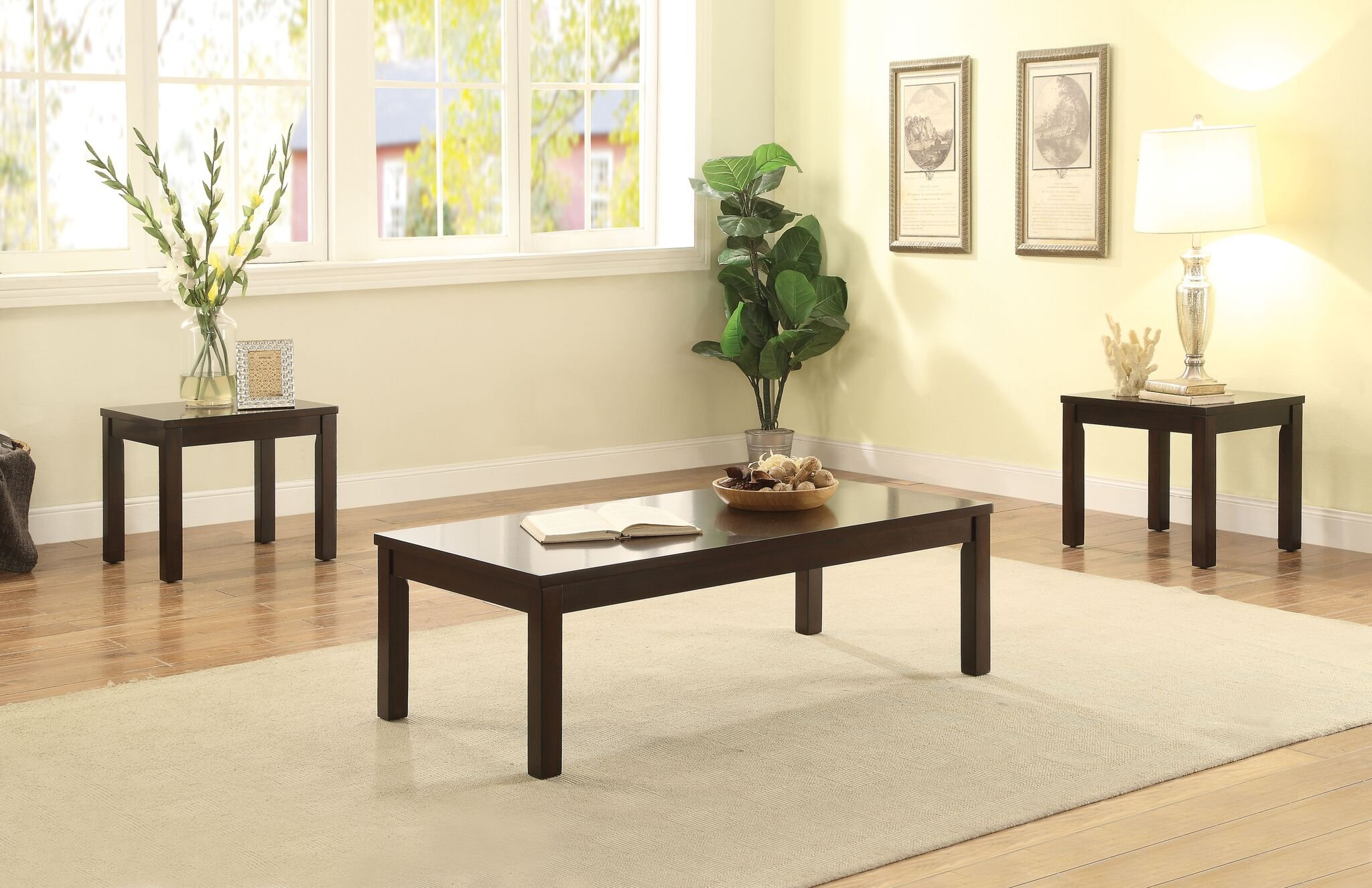 Major-Q Occasional Espresso Finish 3-Pc Wooden Coffee and End Table Set (9082928) by Major-Q