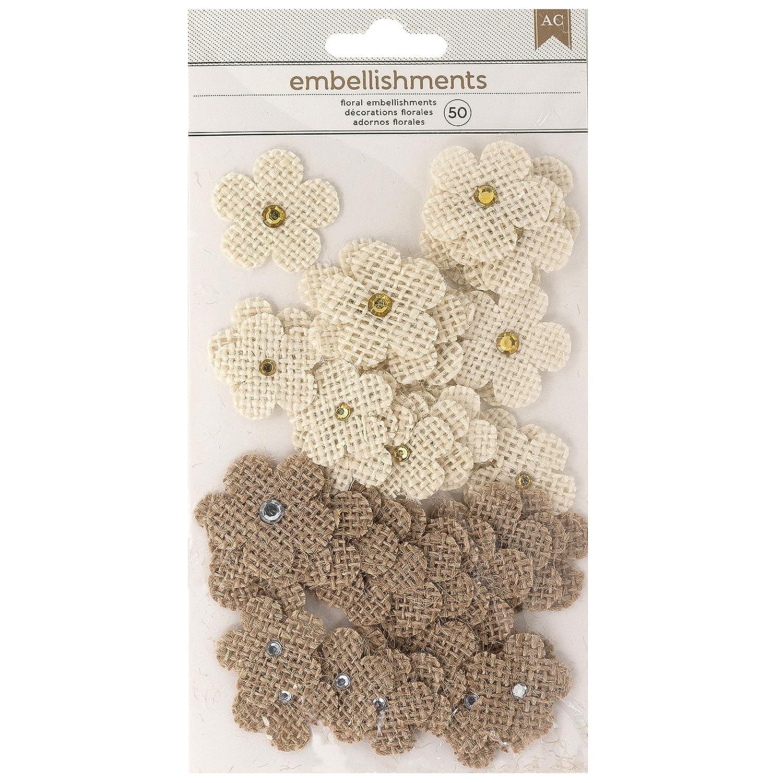 American Crafts 346680 Paper Flowers, Burlap