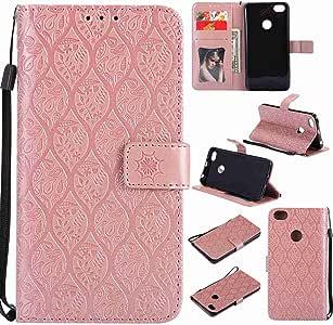 pinlu® Funda para Xiaomi Redmi Note 5A / Note 5A Prime Smartphone Plegado Flip Billetera Carcasa Retro PU Leather Cover Función de Soporte con Ranura Case Rayas de Ratán Rose Gold