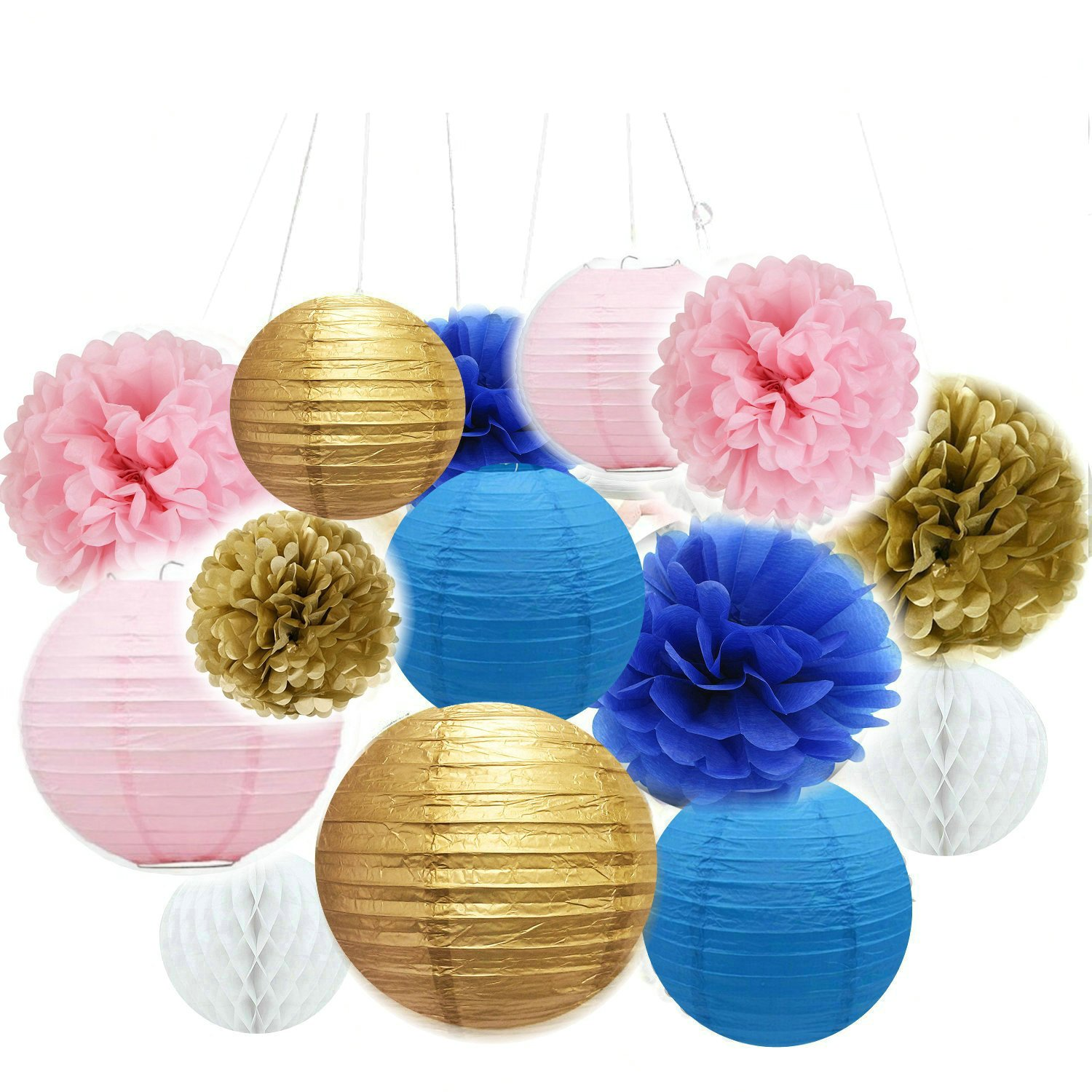 Fascola 14 Pcs Mixed Navy Blue Pink Gold Party Tissue Pom Poms Hanging Paper Lantern Ball Nautical Themed Wedding Birthday Girl Baby Shower Nursery Decoration