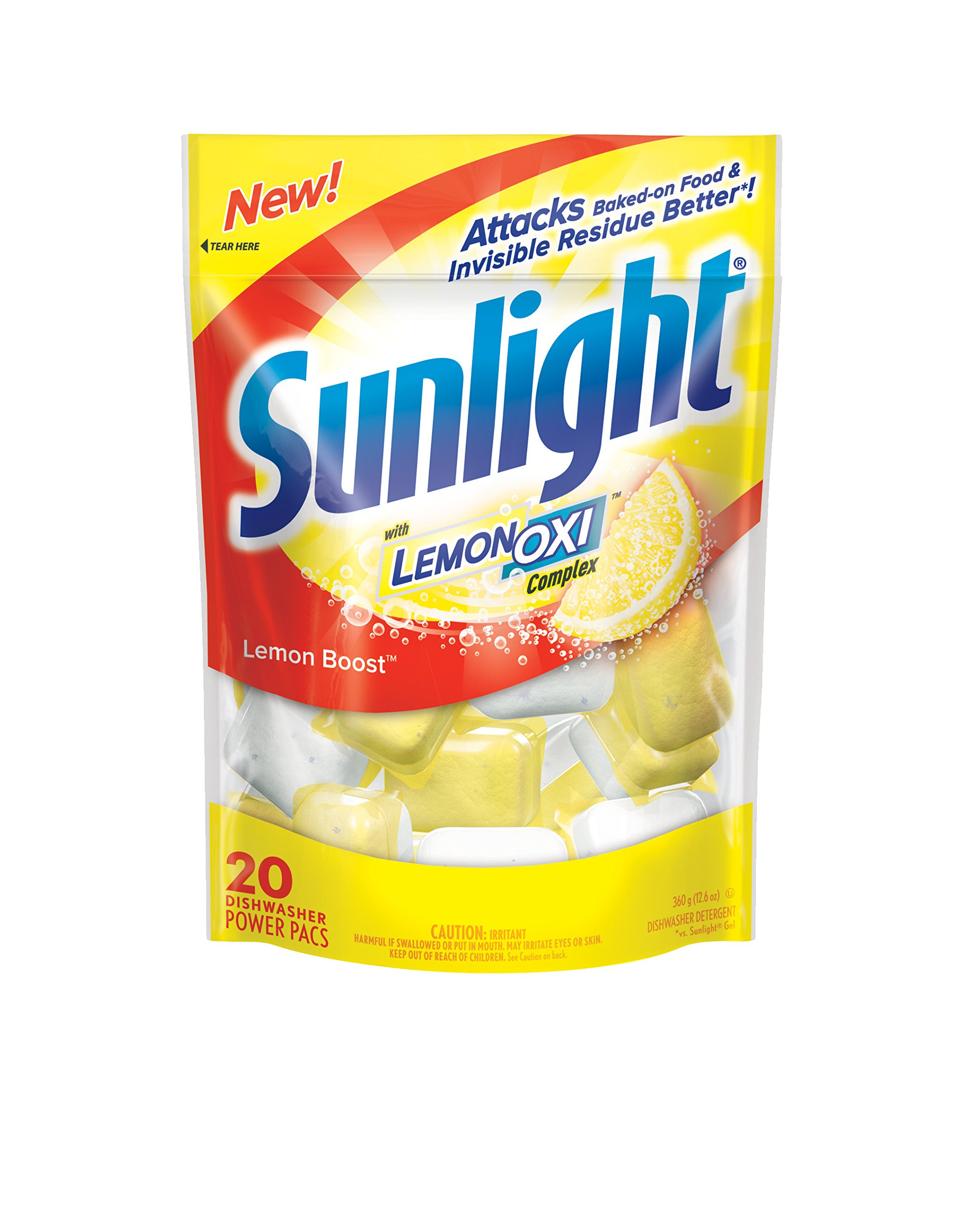 Sunlight Lemon Boost Auto Dish Powder (Single-Use Pouches, 120-Pack)
