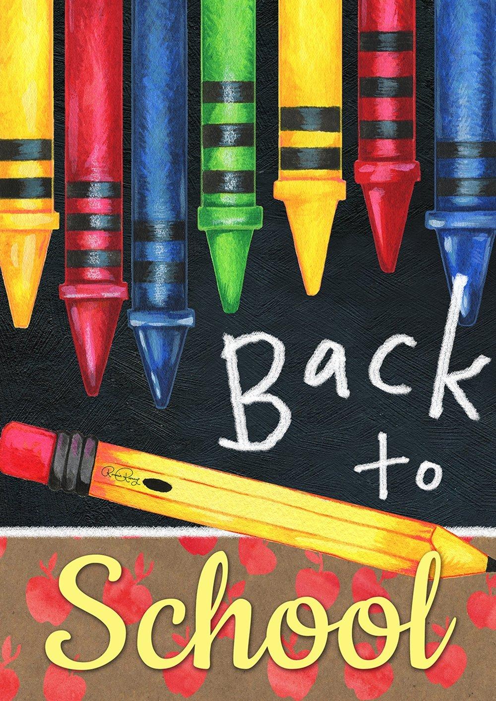 Toland Home Garden 1012196 Decorative Fall Autumn Back to School Crayons Supplies House Flag, 28 x 40, Multicolor