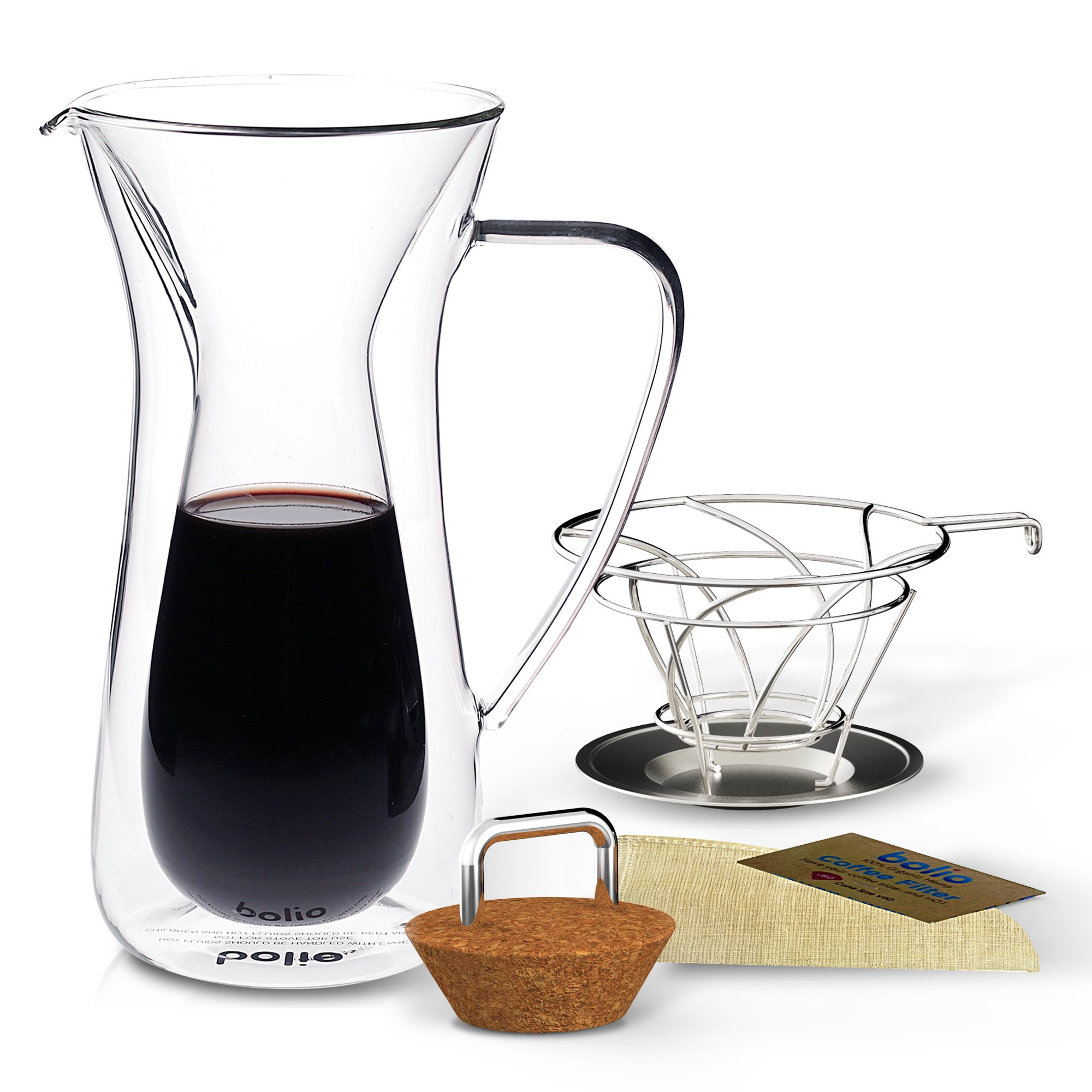 Double Wall Pour Over Coffee Maker, Stainless Steel Filter Basket and Cradle & Hemp Cone Coffee Filter -Triple Combo - Best With Filters Like Osaka Hario Chemex Willow & Everett By Bolio