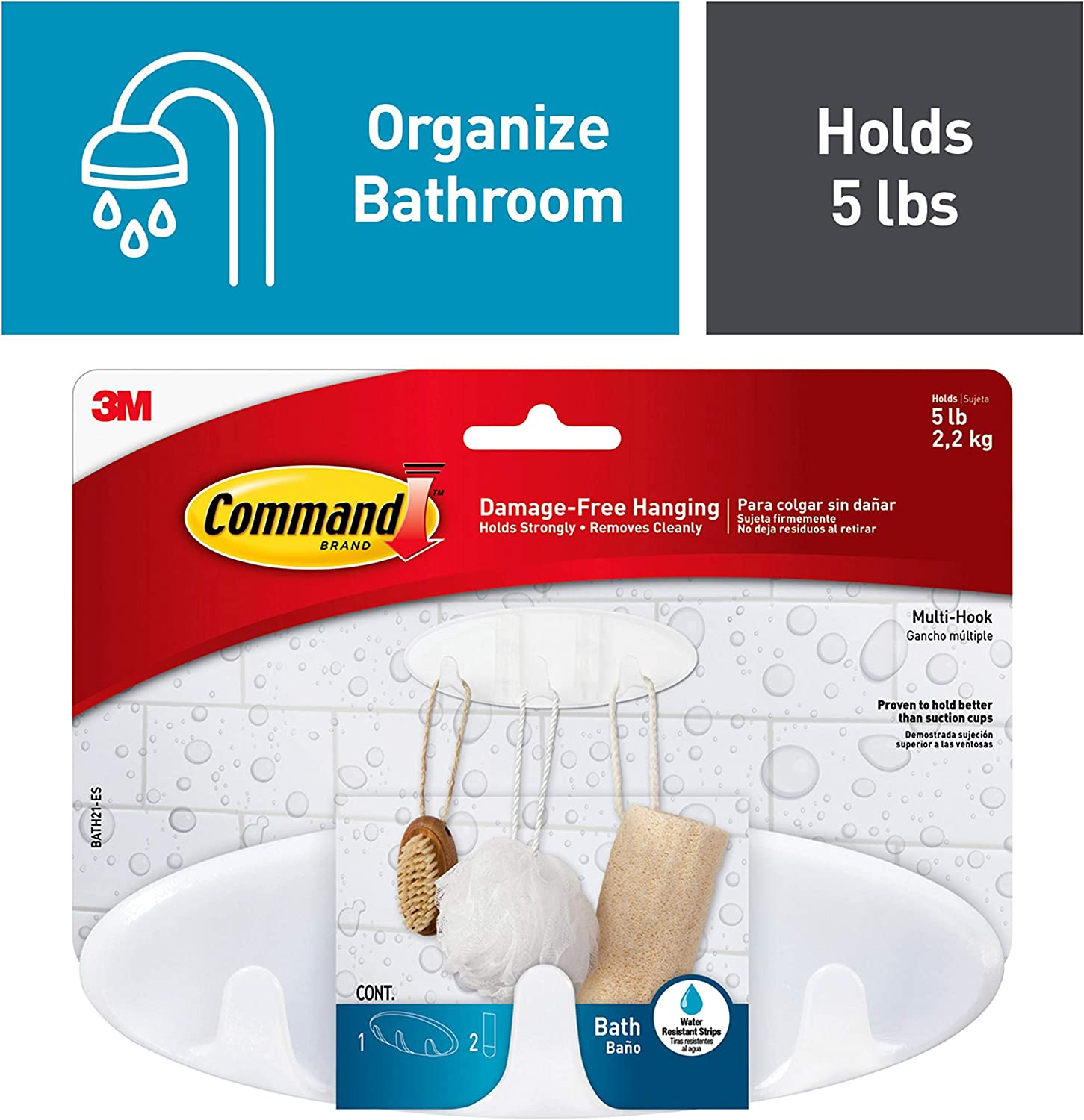 Command BATH21-ES Bath Multi Hook, Clear Frosted