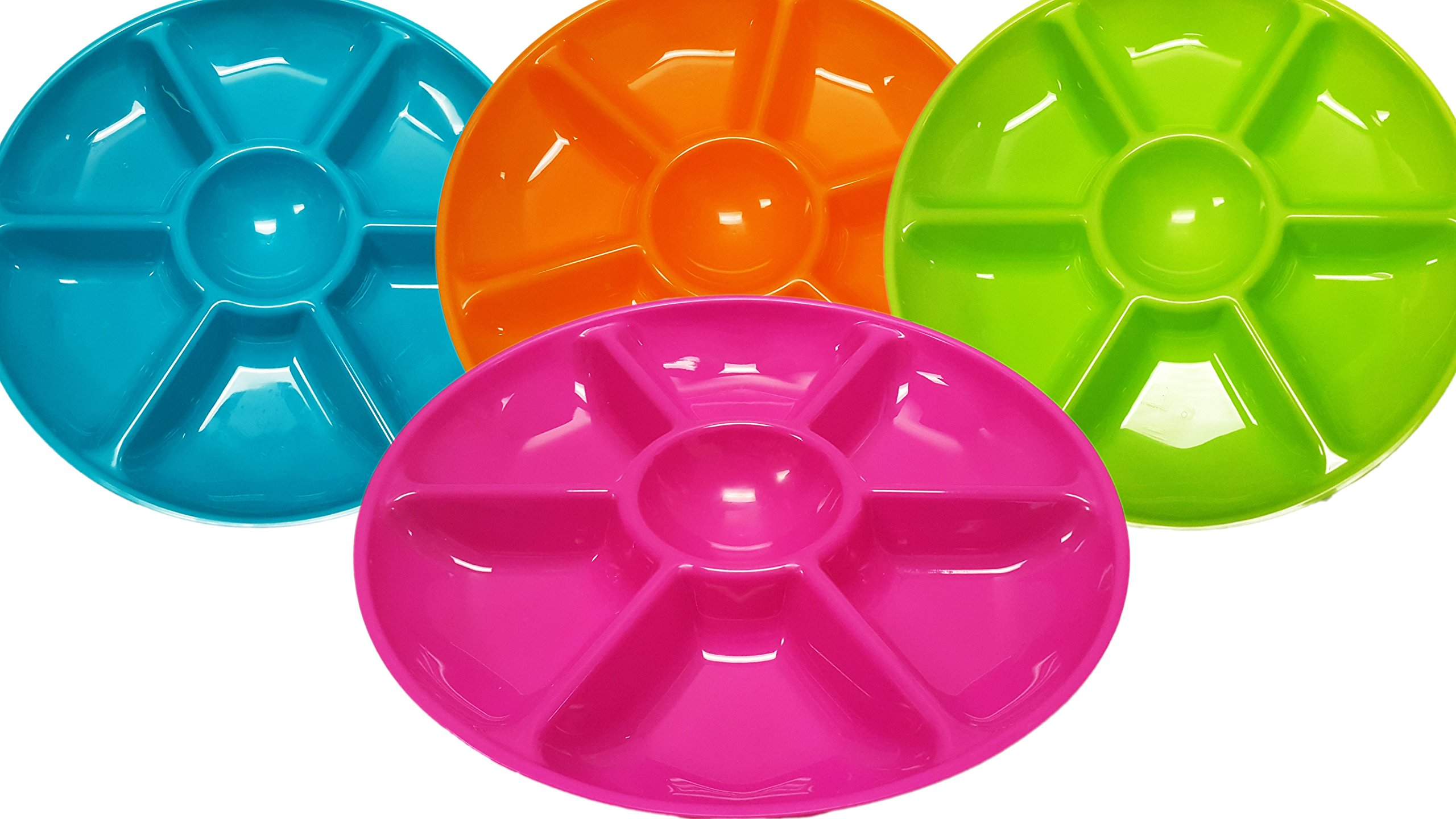 Set of 4 Assorted Colors Black Duck Chip N Dip Hard Plastic 14-Inch Round 7-Section Serving Trays!