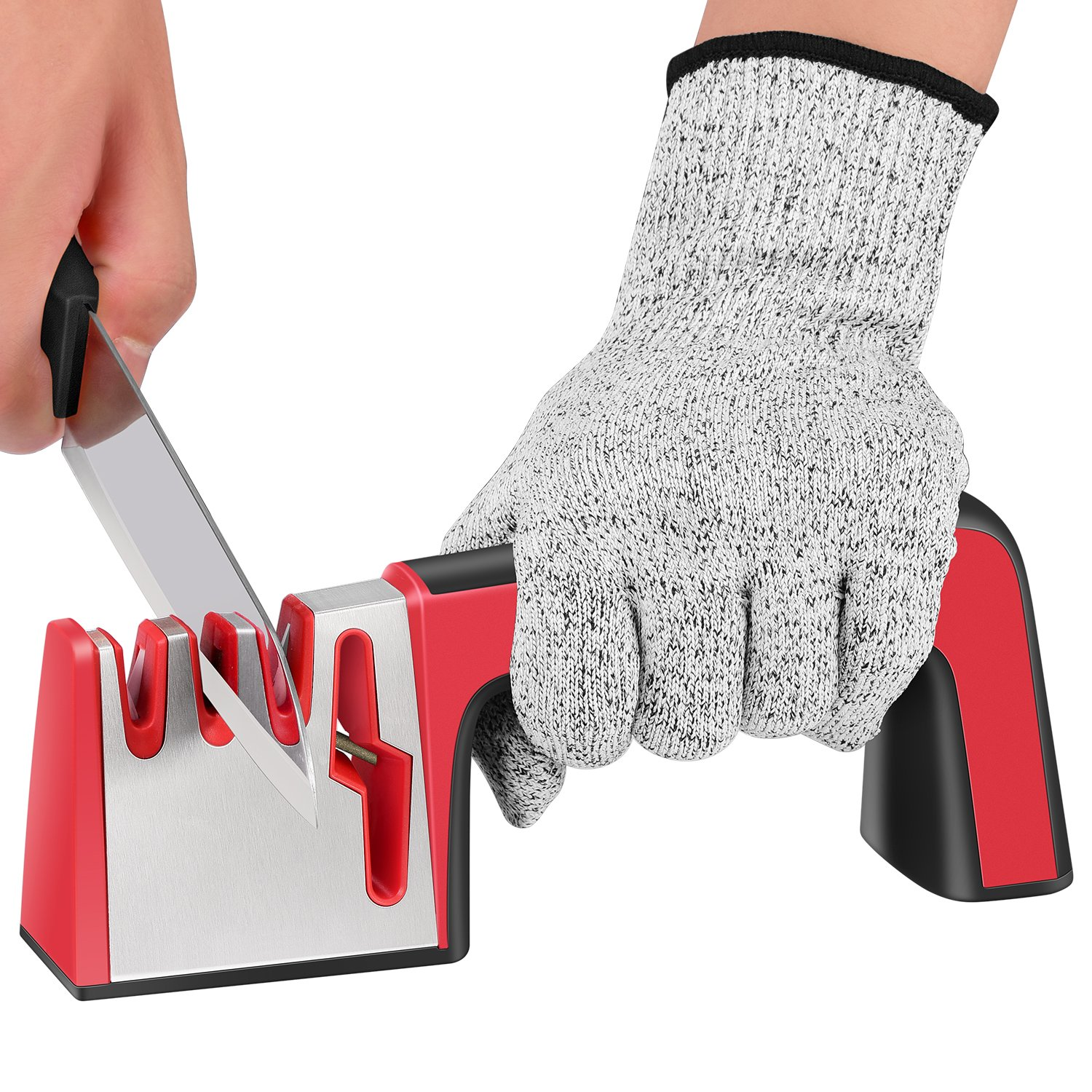 DeYoun Kitchen Knife Sharpeners, Professional 4-in-1 Knife Sharpening Tool Helps Repair, Restore and Polish Your Kitchen Knives & Scissors, Quick & Easy to Use - Cut Resistant Gloves Included. RTUK-KC-01