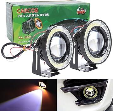 Projector Cob LED Fog DRL Spot Lights Angel Eyes Pair For Mercedes 12V