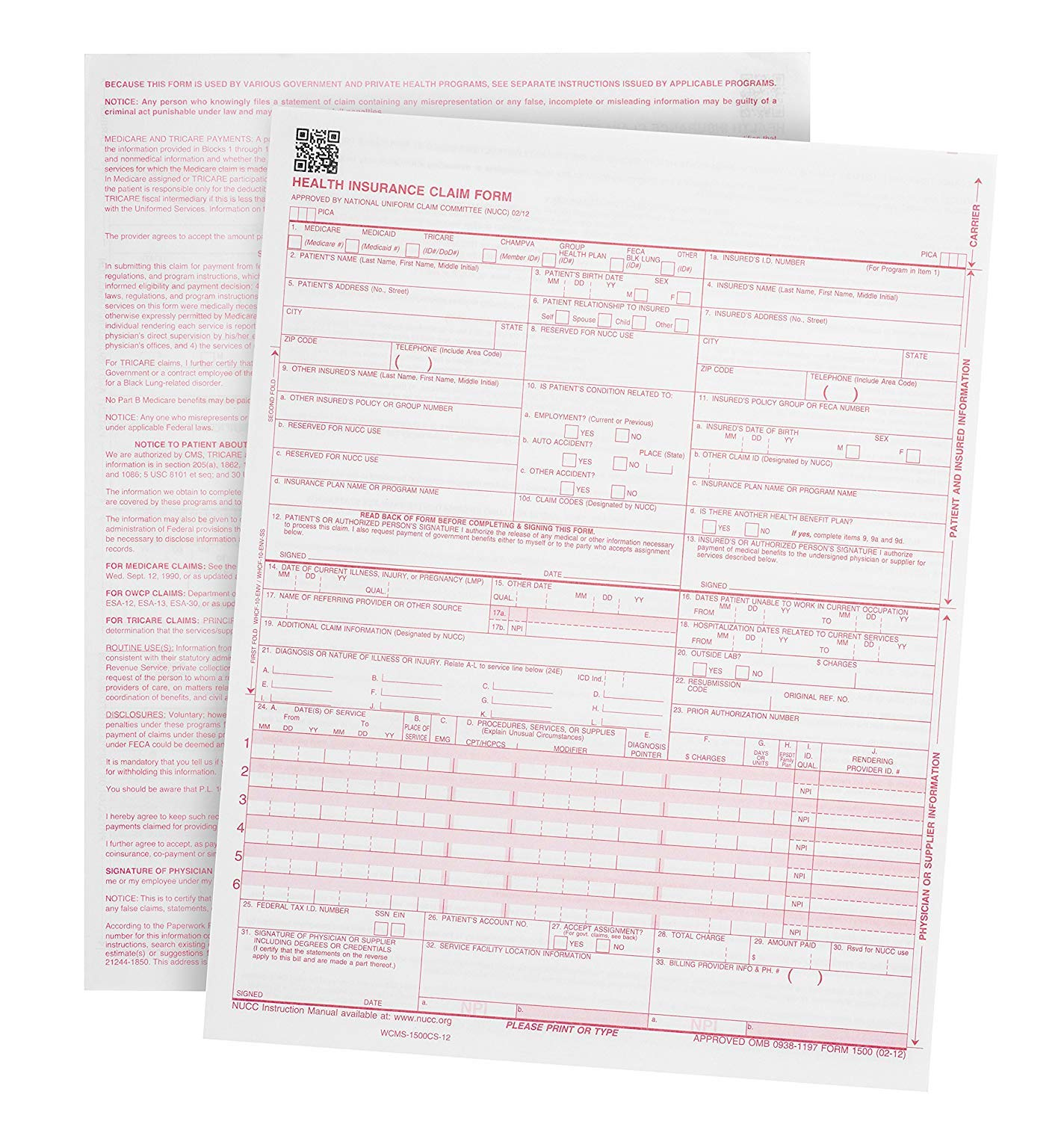 Blue Summit Supplies 500 CMS-1500 Claim Forms – Current HCFA 02/2012 Version New Version- Forms Will line up with Billing Software and Laser Compatible- 500 Sheets – 8.5'' x 11 (1000 Sheets) by Blue Summit Supplies (Image #1)