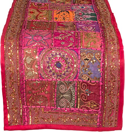 "Pink Table Runner 100% Cotton 18"" x 50"" Handmade Embroidered Boho Bohemian Colorful Patchwork Indian Decoration Reception Party Wedding Decor Tapestry"