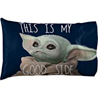 Jay Franco Star Wars The Mandalorian Memes 1 Pack Pillowcase - Double-Sided Kids Super Soft Bedding - Features The Child Baby Yoda (Official Star Wars Product)