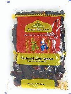 Asian Kitchen Kashmiri Chilli Whole, Low Heat Indian Chilli 7oz (200g) ~ All Natural   Vegan   Gluten Friendly   NON-GMO   Indian Origin