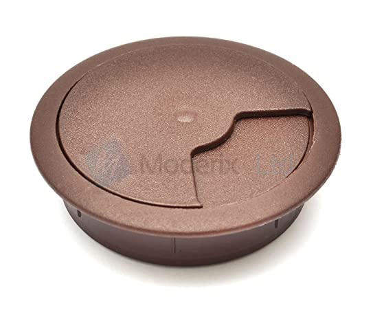 80mm Dark Brown PC Computer Desk Plastic Grommet Table Cable Tidy Wire Hole  Cover By GTV