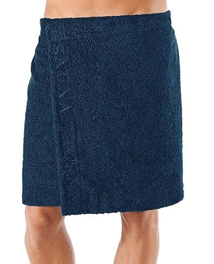 Lashuma Saunatuch Wellness - Toalla para sauna estilo kilt con cierre de velcro para hombres,
