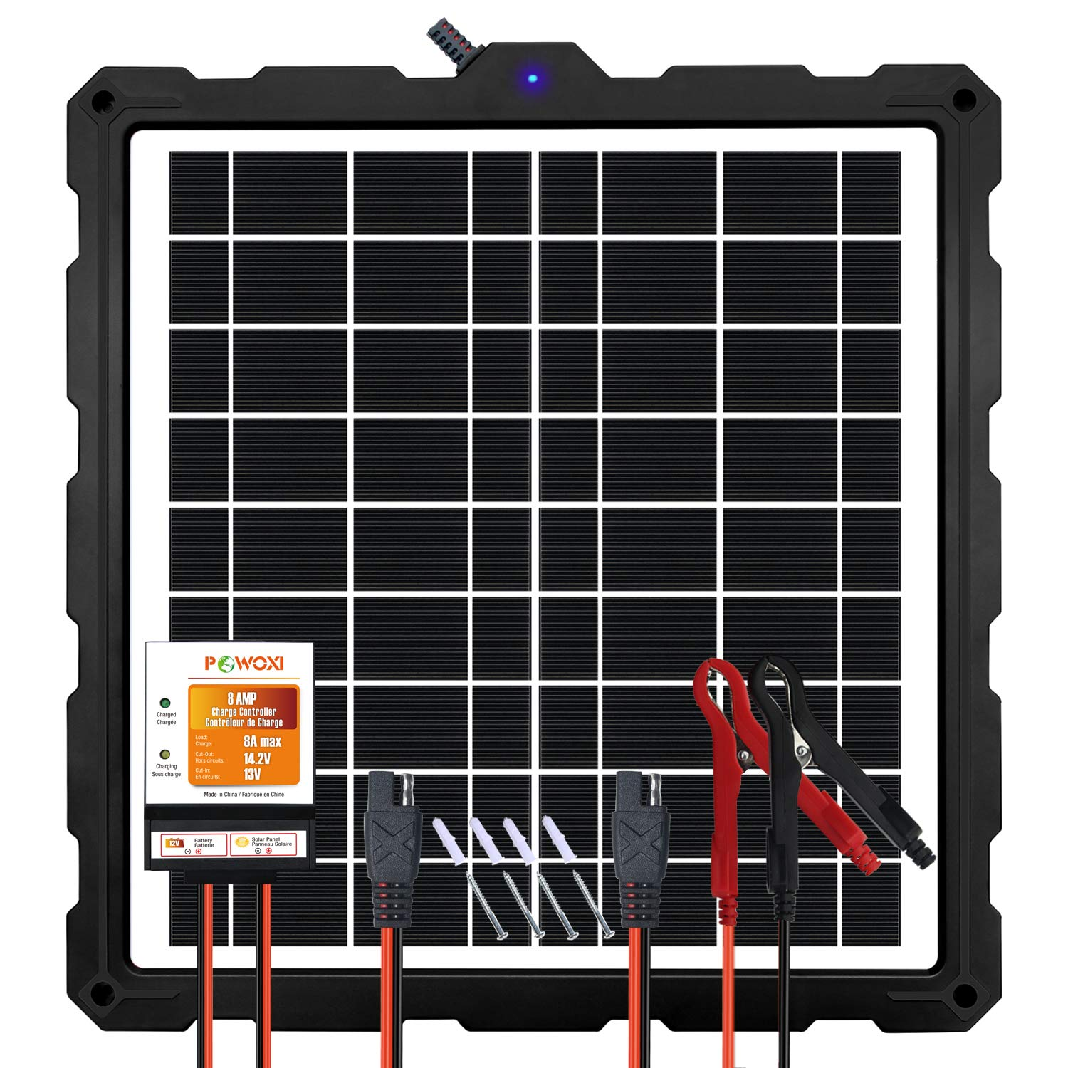 POWOXI-Upgraded-20W-Solar-Battery-Charger-Maintainer, External Smart 3-Stages PWM Charge Controller, 12V Solar Panel Trickle Charging Kit for Car, Marine, Motorcycle, RV, etc