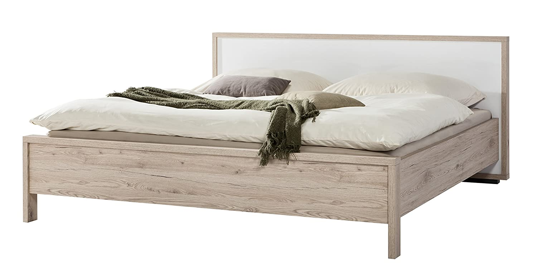 Composad Letto matrimoniale king size color rovere naturale finitura vero legno con testiera laccata bianca lucida