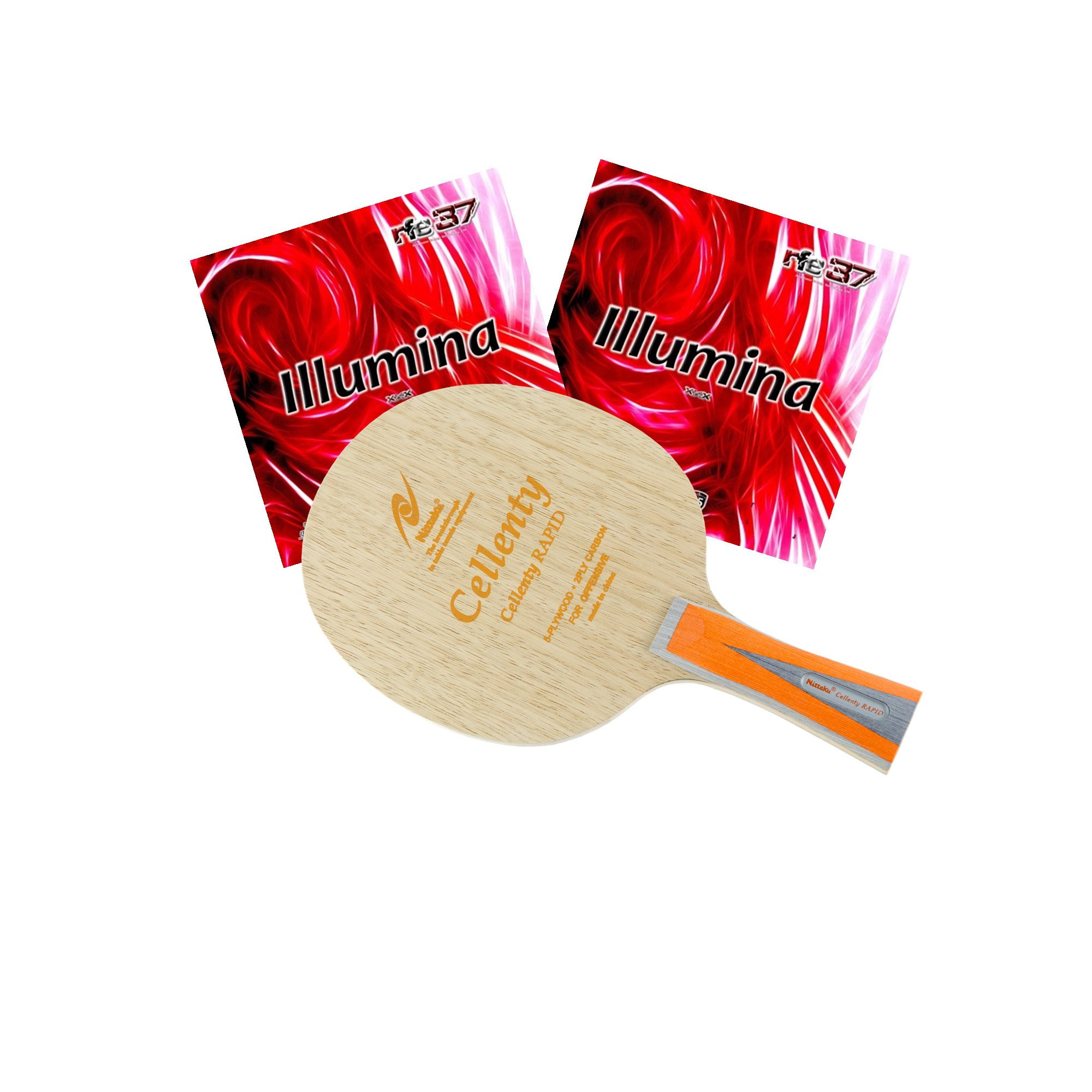 Nittaku Cellenty Rapid Carbon FL + Air Illumina Table Tennis Racket