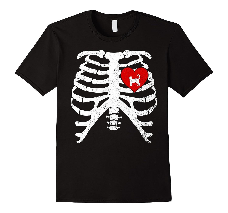 Skeleton Rib Cage Xray Bones T-Shirt with CALICO CAT-Art ...