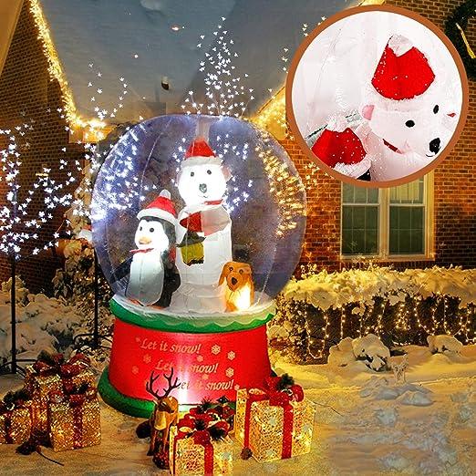 CCLIFE Muñeco hinflable navidad decoracion 120cm,150cm,180cm o 220 cm, exterior, iluminación navideña, Color:snowing man-150cm