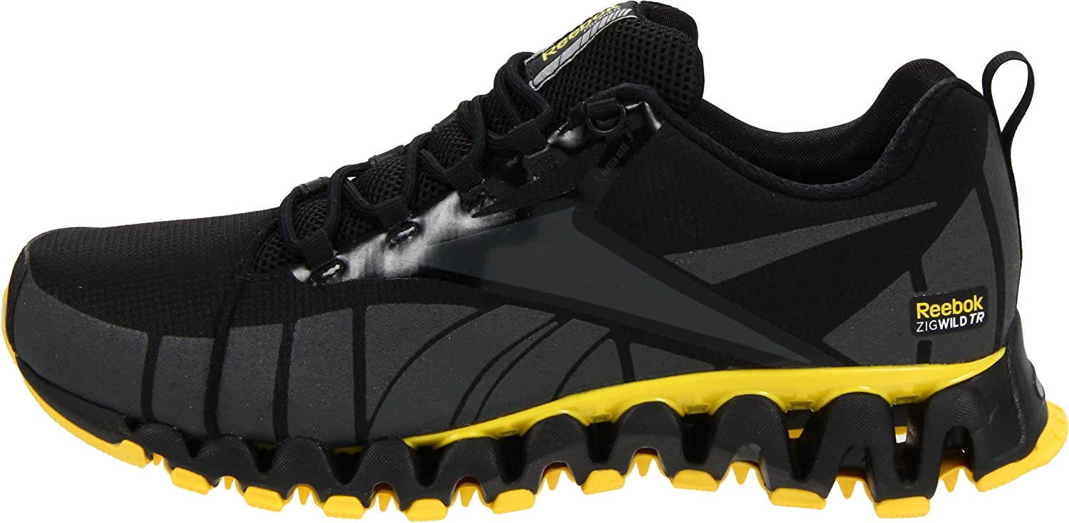 Amazon.com | Reebok Mens Premier Zig Wild TR-M, Black/Gravel/Yellow/Silver, 14 M US | Trail Running