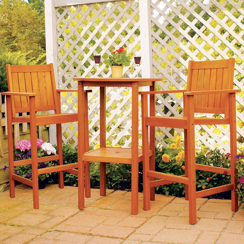 Amazon.com : Achla Designs Eucalyptus Wood Indoor Outdoor Bar Set Table :  Outdoor And Patio Furniture Sets : Garden U0026 Outdoor