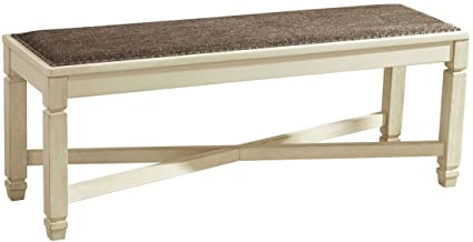 Ashley Furniture Signature Design   Bolanburg Upholstered Dining Room Bench    Two Tone   Textured