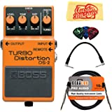 Boss DS-2 Turbo Distortion Guitar Effects Pedal Bundle with Instrument Cable, Patch Cable, Picks, and Austin Bazaar Polishing Cloth
