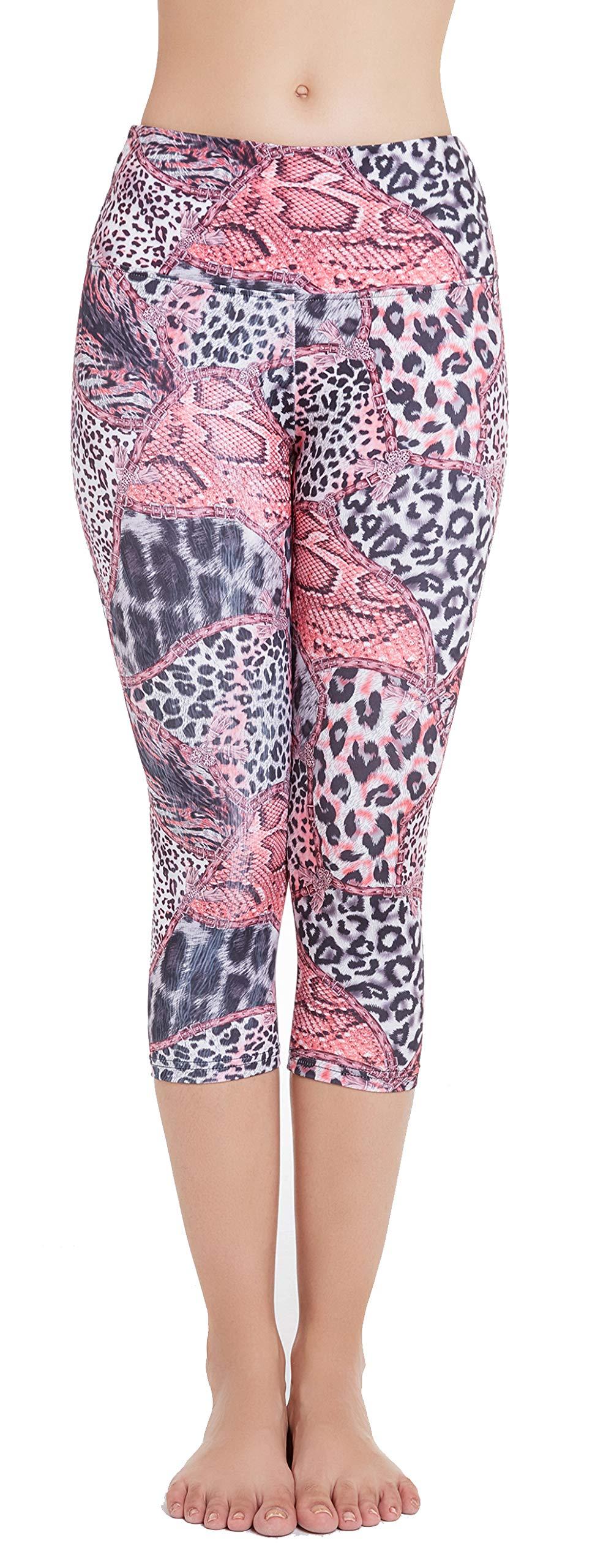 Picotee Women's Printed Yoga Pants Workout Running Capri Leggings w Hidden Pocket (Leopard, M)