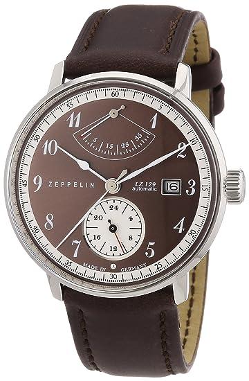 Zeppelin 70605 - Reloj analógico automático para hombre con correa de piel, color marrón: Amazon.es: Relojes
