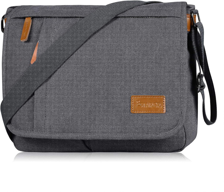 Estarer Vintage Canvas Messenger Bag, LightWeight 13 Inch Laptop Shoulder Briefcase Crossbody Bookbag for Men Women Teens
