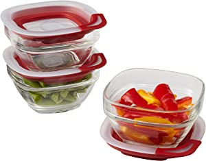 Rubbermaid Easy Find Lids Glass Food Storage Container, 1 Cup, Racer Red, 3 Count 2856009