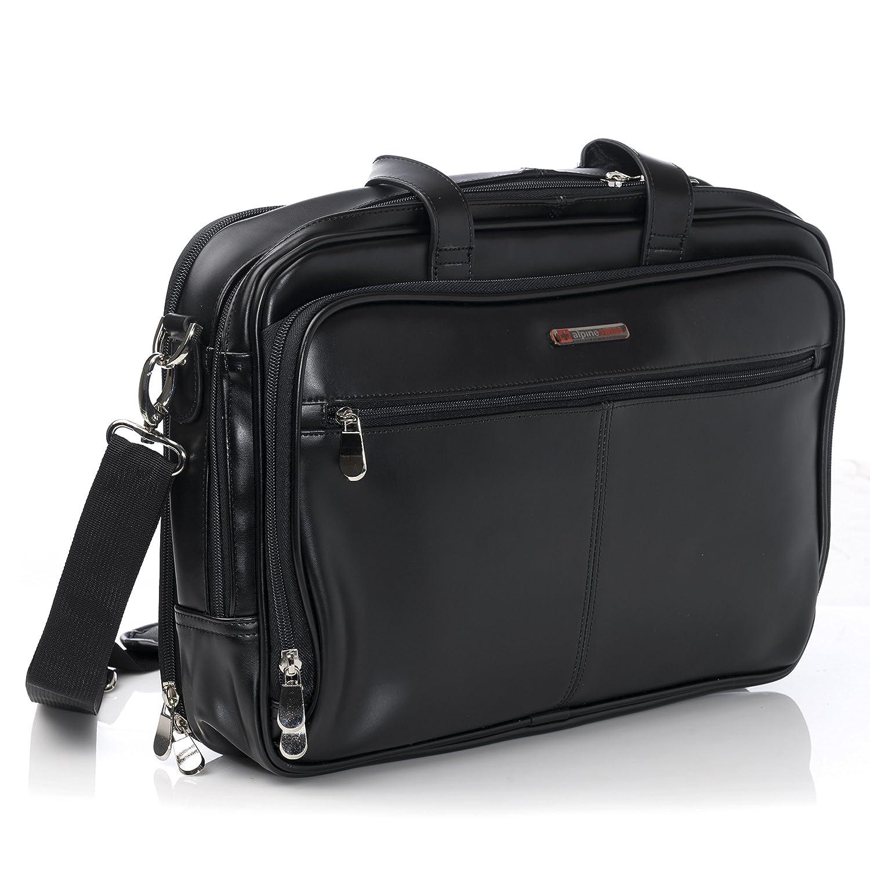 Alpine Swiss Monroe Leather Briefcase Top-Zip Laptop Messenger Bag Black By Alpine Swiss