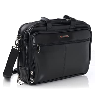 1727992f46f1 Amazon.com  Alpine Swiss Monroe Leather Briefcase Top-Zip Laptop ...